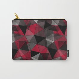 Abstract polygonal pattern.Red, black, grey triangles. Carry-All Pouch