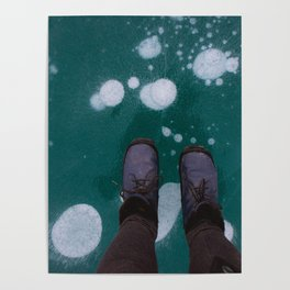 Frozen bubbles in a blue lake Poster
