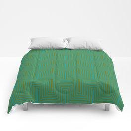 Doors & corners op art pattern in olive green and aqua blue Comforters