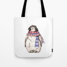 Baby Penguin in Red and Blue Scarf. Winter Season Tote Bag