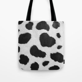 Black and white realistic cow fur texture Tote Bag
