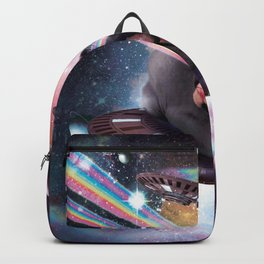 Universe Hairless Cat On UFO Lazer Backpack