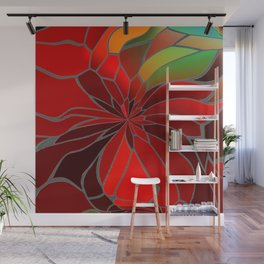 Abstract Poinsettia Wall Mural