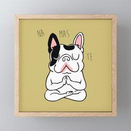 Namaste French Bulldog Framed Mini Art Print
