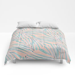 Palm Leaves Coral Comforters