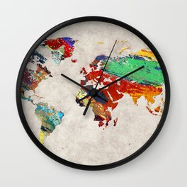 World Map 51 Wall Clock