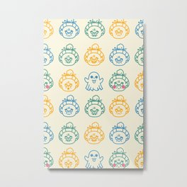 Ay Dios Mio Green, Blue, and Orange Illustrated Grandma Emojis Pattern Metal Print