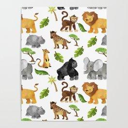 Safari Animals Pattern Watercolor Poster