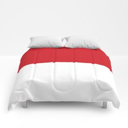 White and Fire Engine Red Horizontal Halves Comforters