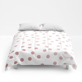 Simply Dots in Rose Gold Sunset Comforters