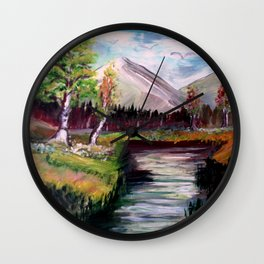 Stream and mountains Wall Clock