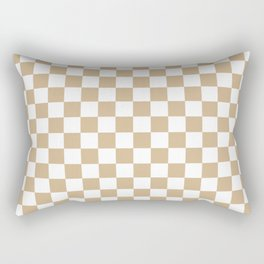 White and Tan Brown Checkerboard Rectangular Pillow