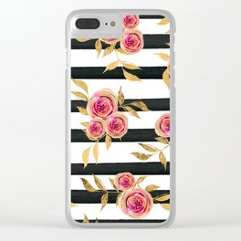 Girly Modern Pink Gold Flowers Black White Stripes Clear iPhone Case