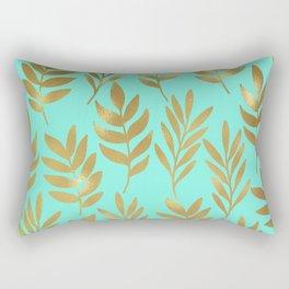 Mint green and gold foil fern Rectangular Pillow