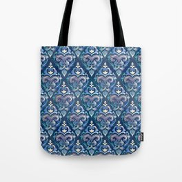 Persian Floral pattern blue and silver Tote Bag
