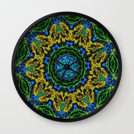 Lovely Healing Mandalas in Brilliant Colors: Hunter Green, Green, Navy, Light Blue, and Goldenrod Wall Clock