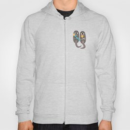 Otters Playing - Aquamarine Background Hoody