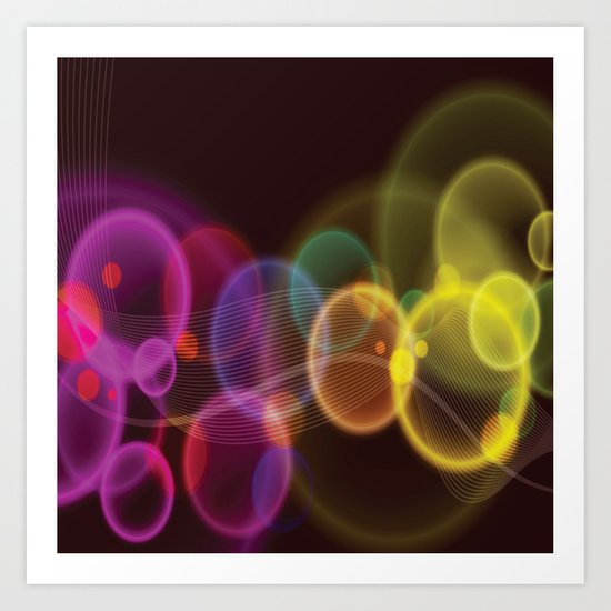 Rainbow Bubbles Design Art Print