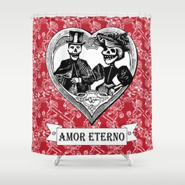 Amor Eterno | Eternal Love | Red and Black Shower Curtain