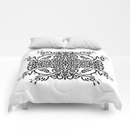 Hold it high - joyful mandala - black and white doodle Comforters