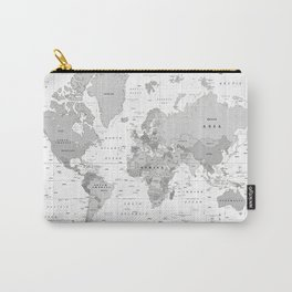 World Map [Black and White] Carry-All Pouch