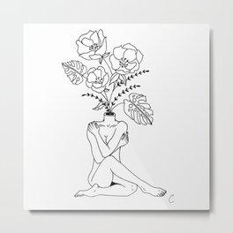 Female Form in Bloom Floral Design Metal Print