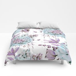 Turquoise and Violet Succulents Comforters