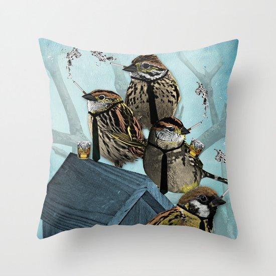 Smoking Birds Print Throw Pillow