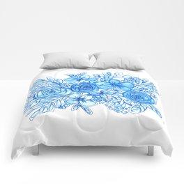 Blue Floral Bouquet Monochrome Watercolor Comforters