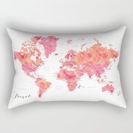 "Travel watercolor world map in hot pink and orange, ""Tatiana"" Rectangular Pillow"