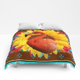 COFFEE BROWN SUNFLOWERS ART DECO SAFFRON FLAMINGOS ART Comforters