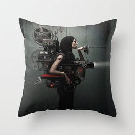 Madame Cinematic - Movie Projection Throw Pillow