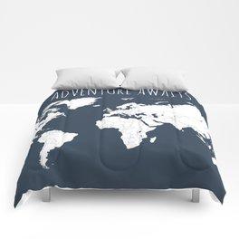 Adventure Awaits World Map in Navy Blue Comforters