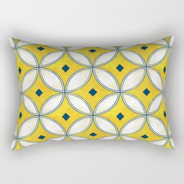 Mediterranean hand painted tile in Yellow, Blue and White Rectangular Pillow