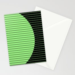 Opposites Attract (Abstract, green and black, geometric design) Stationery Cards