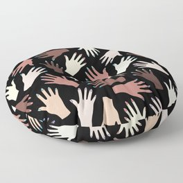 Nail Expert Studio - Colorful Manicured Hands Pattern on Black Background Floor Pillow
