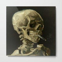 Vincent Van Gogh Skull of a Skeleton with Burning Cigarette Metal Print