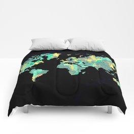 world map 87 green blue Comforters