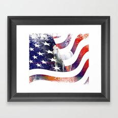 White Horse And American Flag By Annie Zeno Framed Art Print
