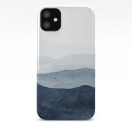 Indigo Abstract Watercolor Mountains iPhone Case