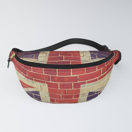 Vintage UK flag on a brick wall Fanny Pack