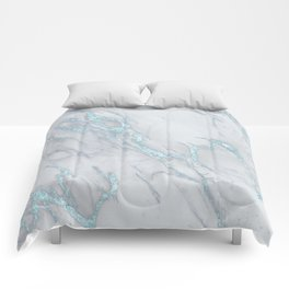 Marble Love Sea Blue Metallic Comforters