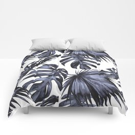 Classic Palm Leaves Navy Blue Comforters