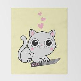 Kitty Hearts Kill - Cats Love Plotting Throw Blanket