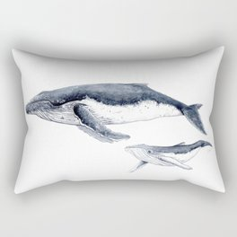 Humpback whale with calf Rectangular Pillow