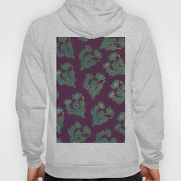 Modern forest green burgundy red gold cactus floral Hoody