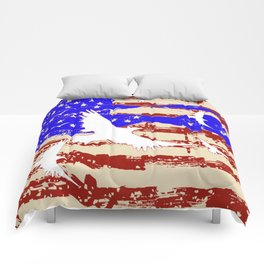 AMERICANA FLAG & WHITE EAGLES FROM  SOCIETY6 BY SHARLESART. Comforters