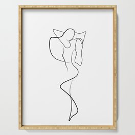 Lovers - Minimal Line Drawing 1 Serving Tray