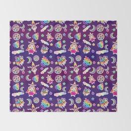 1997 Neon Rainbow Occult Sticker Collection Throw Blanket