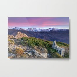 Mulhacen, Alcazaba and Veleta mountains at sunset. Sierra Nevada Metal Print